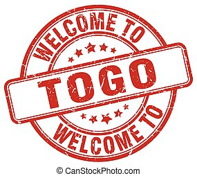 welcome to Togo red round vintage stamp