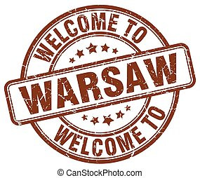 welcome to Warsaw brown round vintage stamp