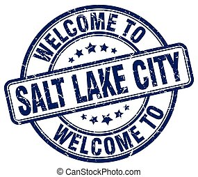 welcome to Salt Lake City blue round vintage stamp