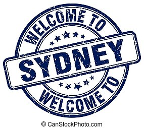welcome to Sydney blue round vintage stamp