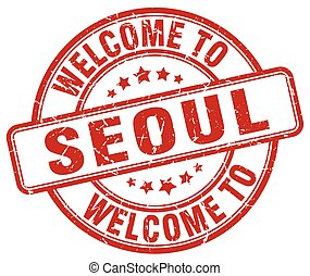 welcome to Seoul red round vintage stamp