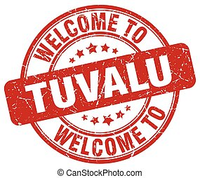 welcome to Tuvalu red round vintage stamp