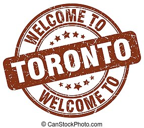 welcome to Toronto brown round vintage stamp
