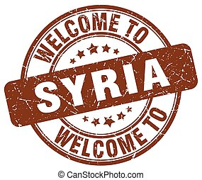 welcome to Syria brown round vintage stamp