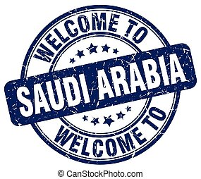 welcome to Saudi Arabia blue round vintage stamp