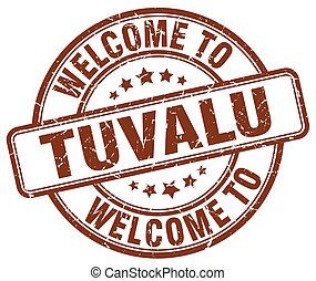welcome to Tuvalu brown round vintage stamp