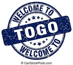 welcome to Togo blue round vintage stamp