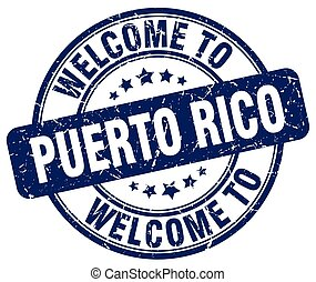 welcome to Puerto Rico blue round vintage stamp