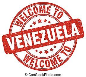 welcome to Venezuela red round vintage stamp