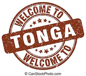 welcome to Tonga brown round vintage stamp