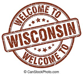 welcome to Wisconsin brown round vintage stamp
