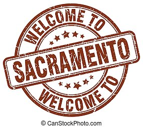welcome to Sacramento brown round vintage stamp