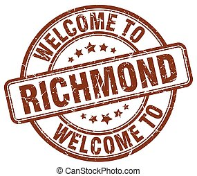 welcome to Richmond brown round vintage stamp