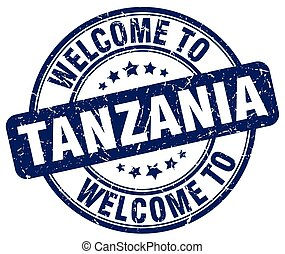 welcome to Tanzania blue round vintage stamp