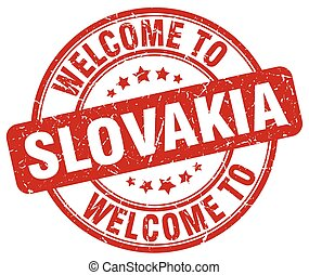 welcome to Slovakia red round vintage stamp
