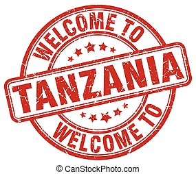 welcome to Tanzania red round vintage stamp