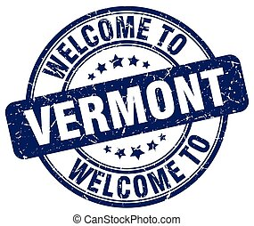 welcome to Vermont blue round vintage stamp