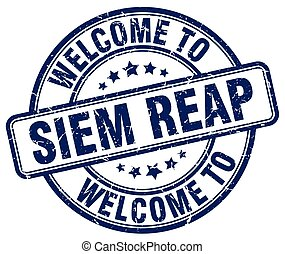 welcome to Siem Reap blue round vintage stamp