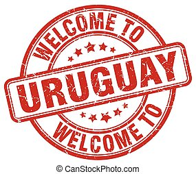 welcome to Uruguay red round vintage stamp