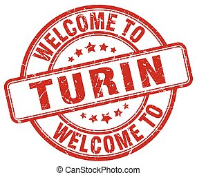 welcome to Turin red round vintage stamp
