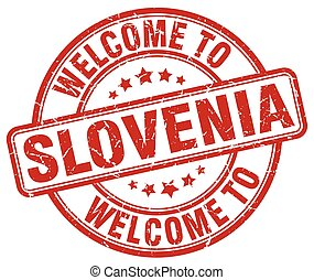 welcome to Slovenia red round vintage stamp