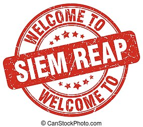 welcome to Siem Reap red round vintage stamp