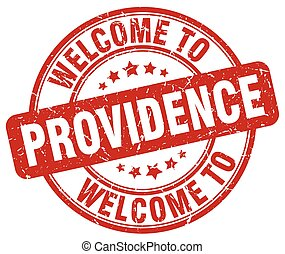 welcome to Providence red round vintage stamp
