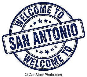 welcome to San Antonio blue round vintage stamp