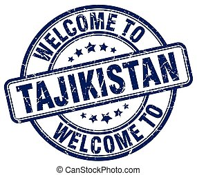 welcome to Tajikistan blue round vintage stamp