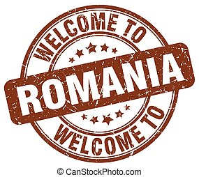 welcome to Romania brown round vintage stamp