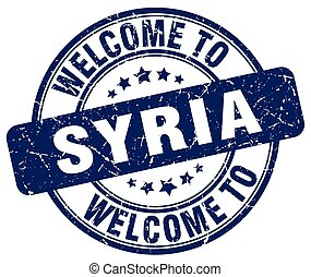 welcome to Syria blue round vintage stamp