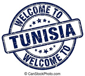 welcome to Tunisia blue round vintage stamp