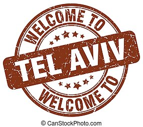 welcome to Tel Aviv brown round vintage stamp