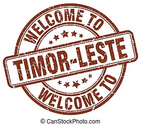 welcome to Timor-Leste brown round vintage stamp