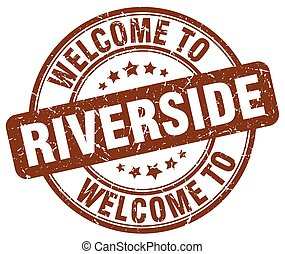 welcome to Riverside brown round vintage stamp
