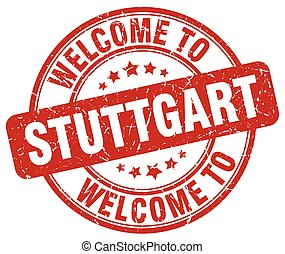 welcome to Stuttgart red round vintage stamp