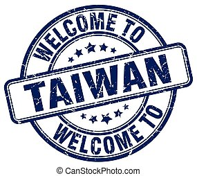 welcome to Taiwan blue round vintage stamp