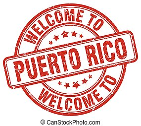 welcome to Puerto Rico red round vintage stamp