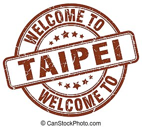 welcome to Taipei brown round vintage stamp