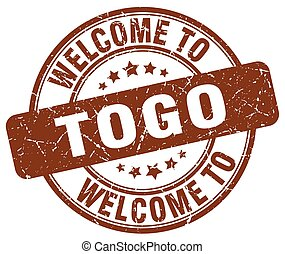 welcome to Togo brown round vintage stamp