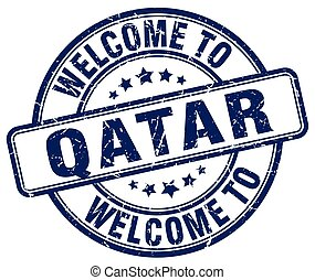 welcome to Qatar blue round vintage stamp