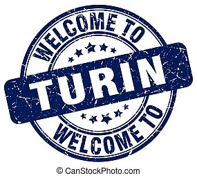 welcome to Turin blue round vintage stamp