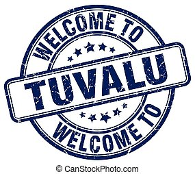 welcome to Tuvalu blue round vintage stamp