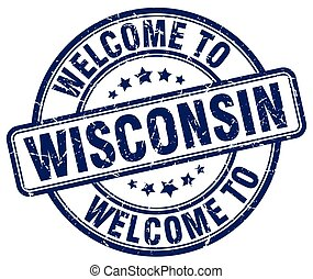 welcome to Wisconsin blue round vintage stamp