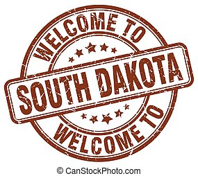 welcome to South Dakota brown round vintage stamp