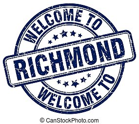 welcome to Richmond blue round vintage stamp