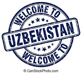 welcome to Uzbekistan blue round vintage stamp