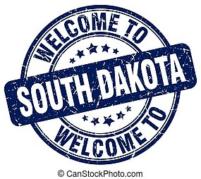 welcome to South Dakota blue round vintage stamp