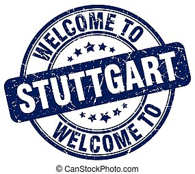 welcome to Stuttgart blue round vintage stamp