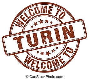 welcome to Turin brown round vintage stamp